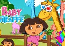 Cuida a la pequeña jirafa con Dora